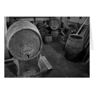 Old wine barrels greeting card