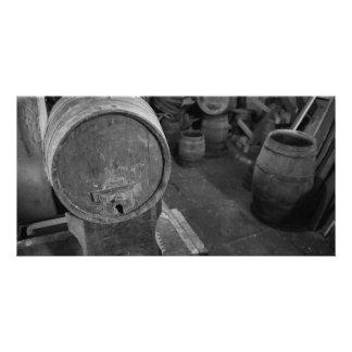 Old wine barrels customized photo card