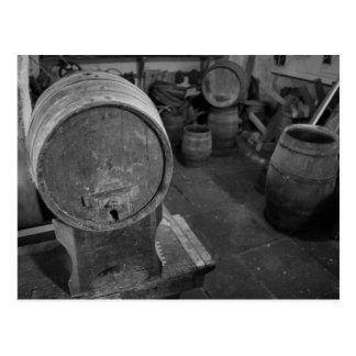 Old wine barrels postcard