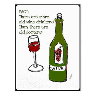 OLD WINE DRINKERS...WINE PRINT by jill Postcard