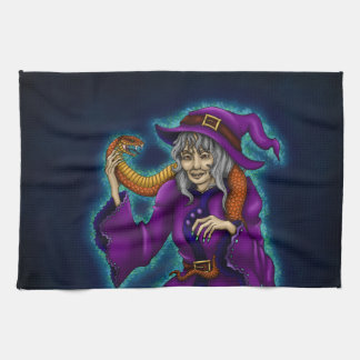 Old witch with queue - Halloween Tea Towel
