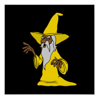 Old Wizard in Yellow Robe Print
