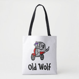 Old Wolf, Wolf on a Scooter Tote Bag
