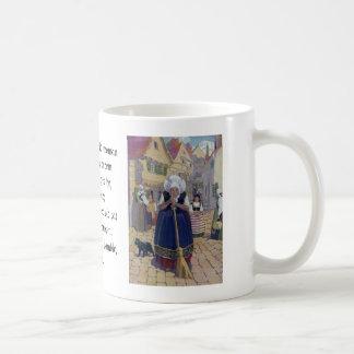 Old Woman, Cat and Broom Nursery Rhyme Coffee Mug