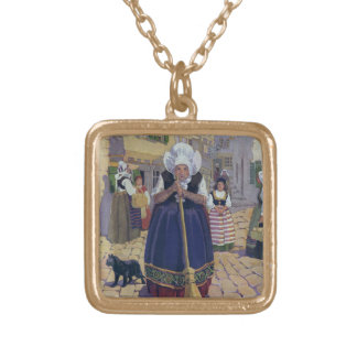 Old Woman, Cat and Broom Nursery Rhyme Personalized Necklace