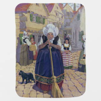 Old Woman, Cat and Broom Nursery Rhyme Swaddle Blankets