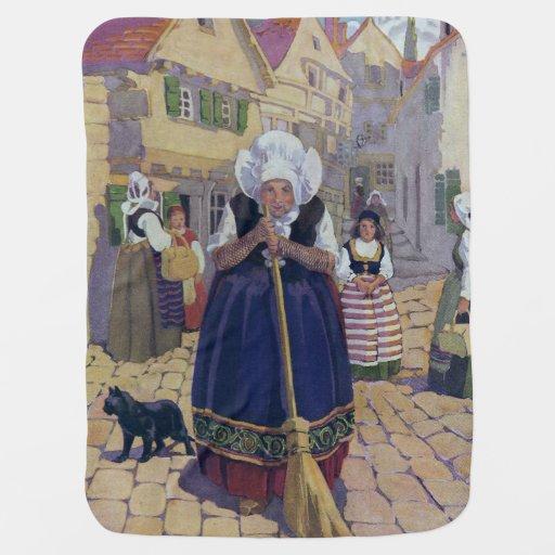 Old Woman, Cat and Broom Nursery Rhyme Baby Blankets