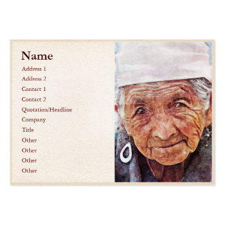 Old Woman classic digital portrait painting Business Card Template