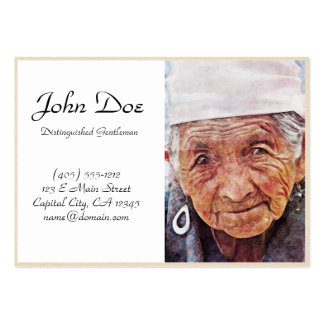 Old Woman cool watercolor portrait painting Business Cards