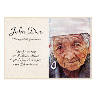 Old Woman cool watercolor portrait painting Business Card Template