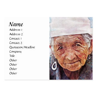Old Woman cool watercolor portrait painting Large Business Cards (Pack Of 100)