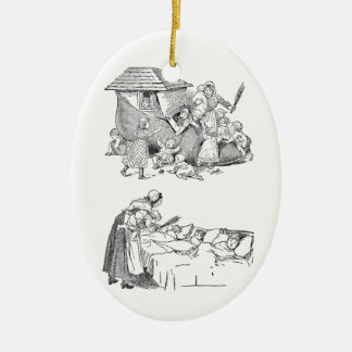 Old Woman Living in Shoe Nursery Rhyme Ceramic Oval Decoration