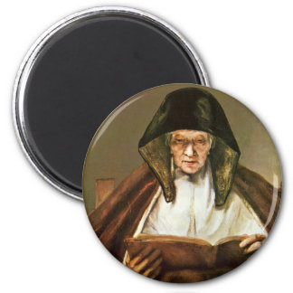 Old Woman Reading,  By Rembrandt Harmensz. Van 6 Cm Round Magnet