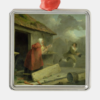 Old Woman Waving a Stick at a Boy, 1793 (oil on ca Christmas Ornament