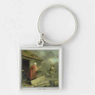 Old Woman Waving a Stick at a Boy, 1793 (oil on ca Silver-Colored Square Key Ring