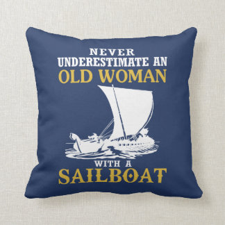 Old Woman With A Sailboat Cushion