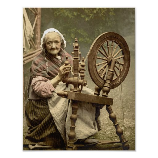 Old Woman With Spinning Wheel Poster