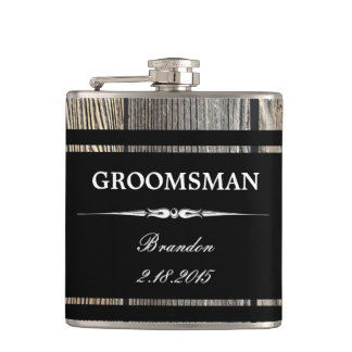 Old Wood Black GROOMSMAN Wedding Flask