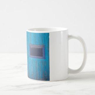 Old Wood Blue Garage Door Coffee Mug
