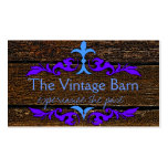 Old Wood & Blue Scroll Business Cards
