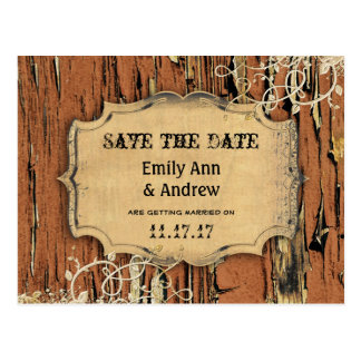 Old Wood Country Chic Gold Vine Save the Date Postcard
