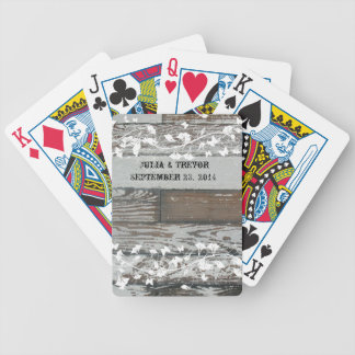 Old Wood Country White Personalized Bicycle Playing Cards
