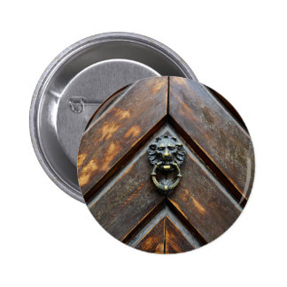 old wood door lion head  metal handle knock 6 cm round badge