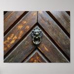old wood door lion head  metal handle knock poster