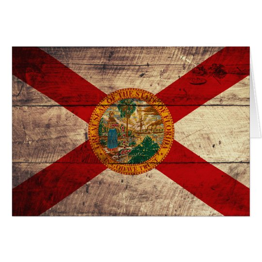 Old Wood Florida Flag; Card