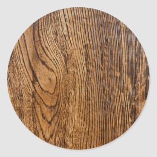 Old wood grain look classic round sticker