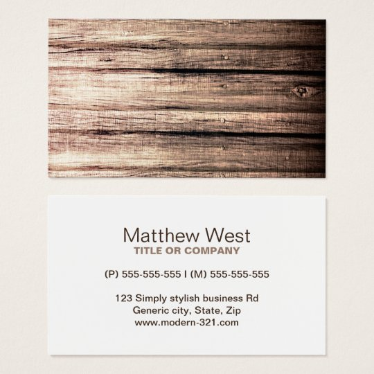 Old wood grain texture professional profile business card