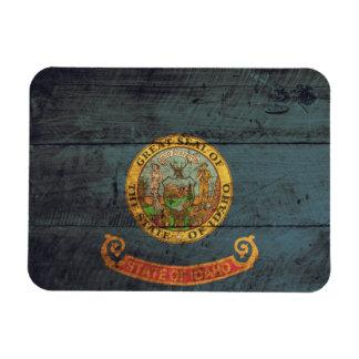 Old Wood Idaho Flag; Rectangular Photo Magnet