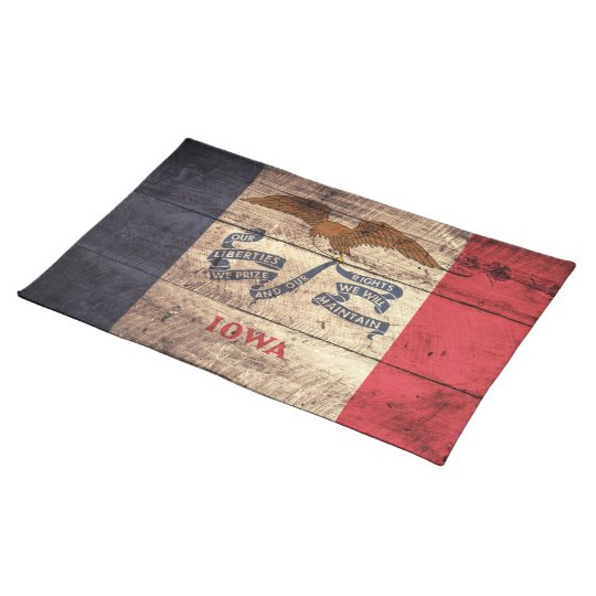 Old Wood Iowa Flag; Place Mat