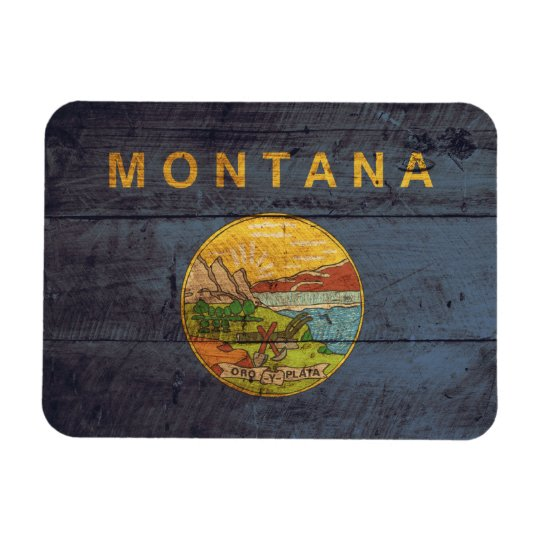 Old Wood Montana Flag Rectangular Photo Magnet