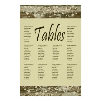 Old Wood Seating Chart Gold Tint Poster