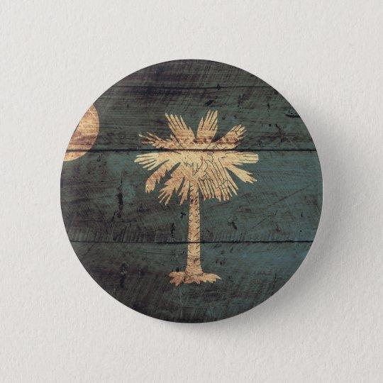 Old Wood South Carolina Flag; 6 Cm Round Badge