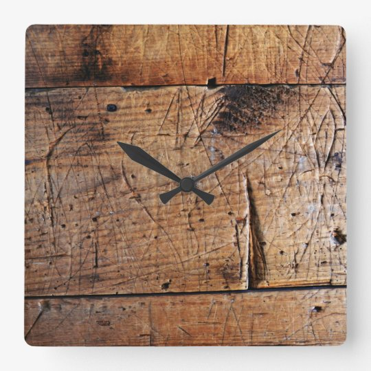 """Old Wood"" Square Wall Clock"