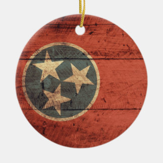 Old Wood Tennessee Flag; Christmas Ornament