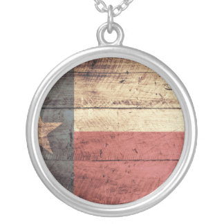Old Wood Texas Flag Silver Plated Necklace