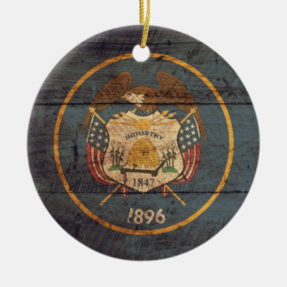 Old Wood Utah Flag Ornament