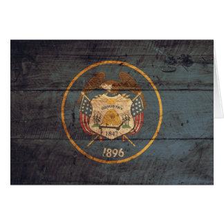Old Wood Utah Flag Note Card