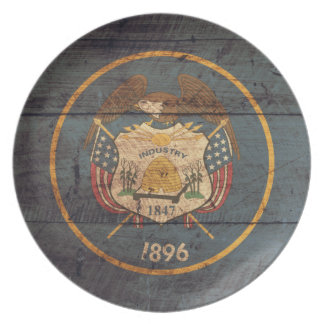 Old Wood Utah Flag Plate