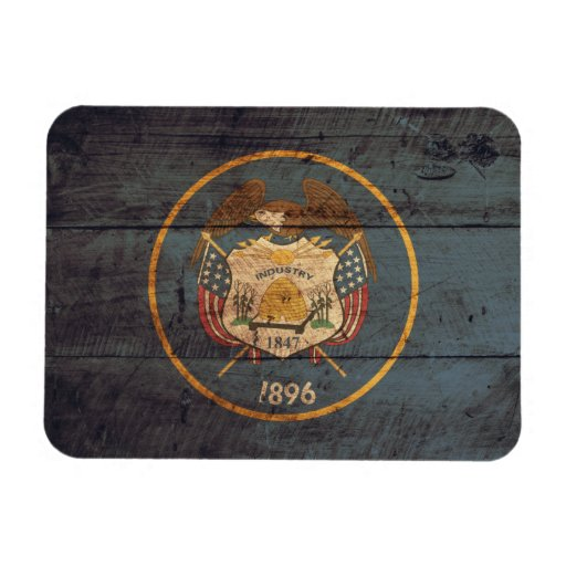 Old Wood Utah Flag Rectangular Magnets