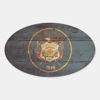 Old Wood Utah Flag Stickers