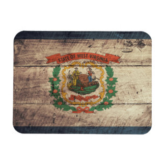Old Wood West Virginia Flag Rectangular Photo Magnet