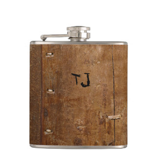 Old Wood with (or without) Initial(s) Hip Flask