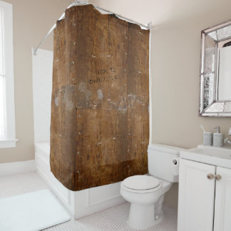 Old Wood with (or without) Scratched Text Shower Curtain