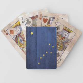 Old Wooden Alaska Flag Playing Cards