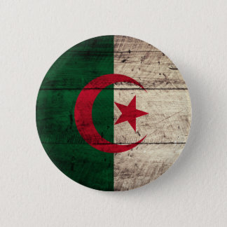 Old Wooden Algeria Flag 6 Cm Round Badge