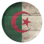 Old Wooden Algeria Flag Party Plates